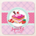 """Beautiful Cake bakery Pink Coaster<br><div class=""""desc"""">Fantastic and stylish design on Coasters whit dots and stripes makes beautiful company with cake piece . You are welcome to visit my store for more beautiful designs.</div>"""