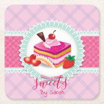 Beautiful Cake bakery Pink Coaster