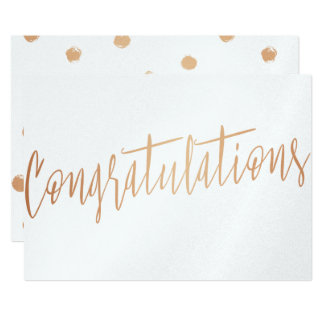 "Beautiful calligraphy gold rose ""Congratulations"" Card"