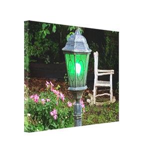 Beautiful Calming Outdoor Lantern Rocking Chair Canvas Print