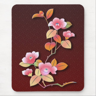 Beautiful camellia branch mouse pad