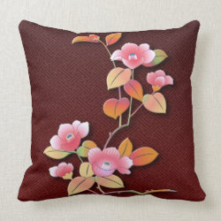 Beautiful camellia branch pillow