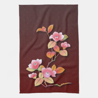 Beautiful camellia branch towel