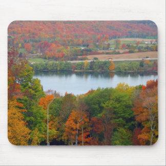 Beautiful Canadian Autumn Orange Trees Blue Lake Mouse Pad