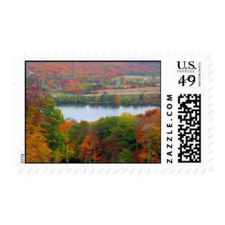 Beautiful Canadian Autumn Orange Trees Blue Lake Postage