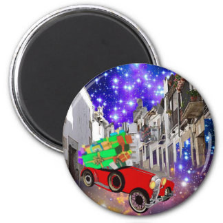 Beautiful car plenty of gifts under starry night magnet