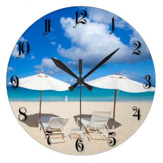 Beautiful Caribbean beach Large Clock