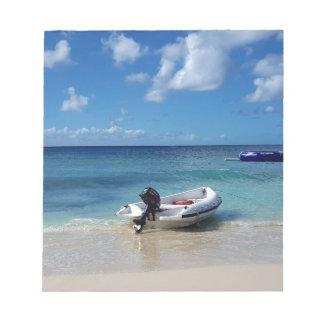 Beautiful Caribbean Beachscape Boat Photography Notepad