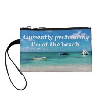 Beautiful Caribbean Beachscape Humorous Quote Change Purse