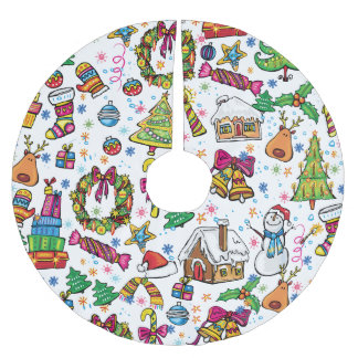 Beautiful cartoon doodle clip art cute design brushed polyester tree skirt