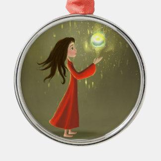 Beautiful cartoon girl and sun Ornament