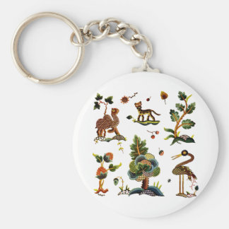 Beautiful Castlemaine Jacobean Embroidery Basic Round Button Keychain