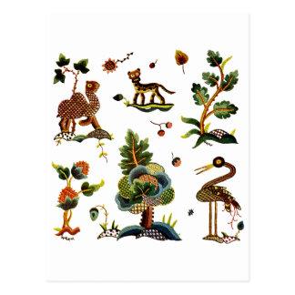 Beautiful Castlemaine Jacobean Embroidery Postcard