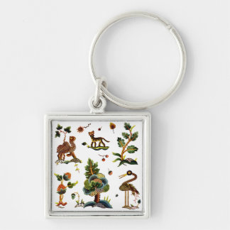 Beautiful Castlemaine Jacobean Embroidery Silver-Colored Square Keychain