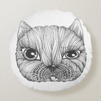 beautiful cat design round pillow