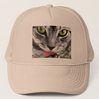 beautiful cat feline eyes and tongue lick trucker hat