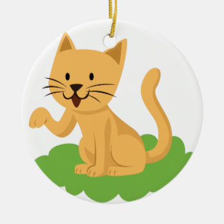beautiful cat meowing and waving ceramic ornament