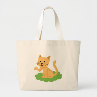 beautiful cat meowing and waving large tote bag