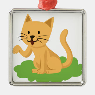 beautiful cat meowing and waving metal ornament