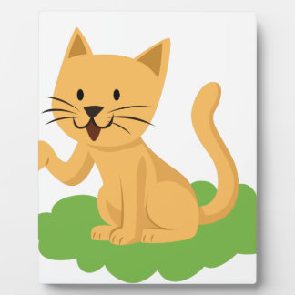 beautiful cat meowing and waving plaque