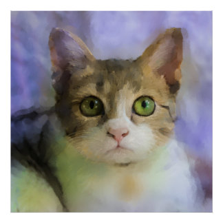 Beautiful Cat Oil Painting Poster