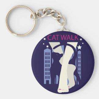 Beautiful cat walk. Art deco stylish illustration Keychain