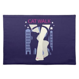 Beautiful cat walk. Art deco stylish illustration Placemat