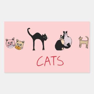 beautiful cats, meowmeow rectangular sticker