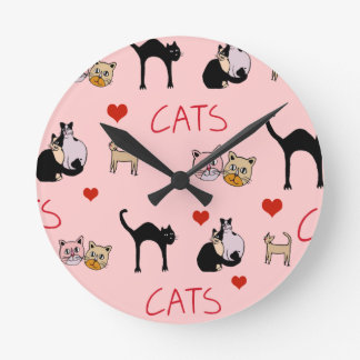beautiful cats, meowmeow round clock