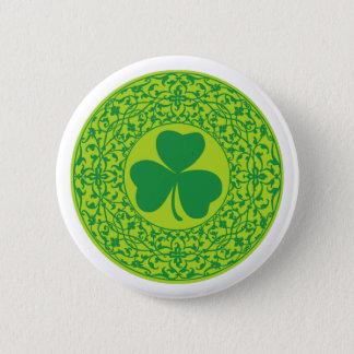 Beautiful celtic art three-leafed shamrock pinback button