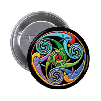 Beautiful Celtic Mandala with Colorful Swirls 2 Inch Round Button