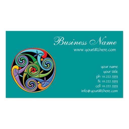 Beautiful Celtic Mandala with Colorful Swirls Business Card Templates