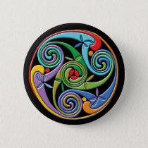 Beautiful Celtic Mandala with Colorful Swirls Button