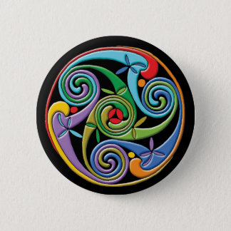 Beautiful Celtic Mandala with Colorful Swirls Button