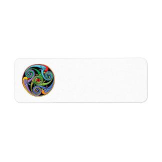 Beautiful Celtic Mandala with Colorful Swirls Label