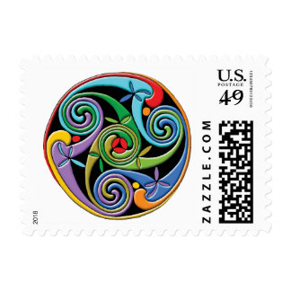Beautiful Celtic Mandala with Colorful Swirls Postage
