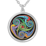 Beautiful Celtic Mandala with Colorful Swirls Silver Plated Necklace