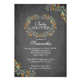 Beautiful Chalkboard Floral Frame Baby Shower Custom Invitations