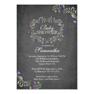 Beautiful Chalkboard Floral Frame Baby Shower Personalized Invitation