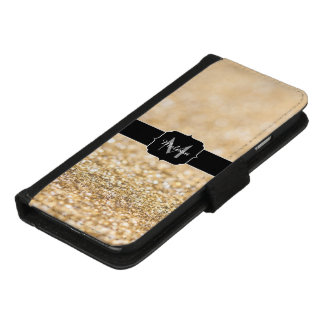 Beautiful champagne gold glitter sparkles Monogram iPhone 8/7 Wallet Case