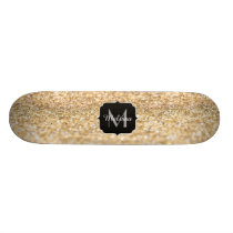 Beautiful champagne gold glitter sparkles Monogram Skateboard