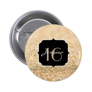 Beautiful champagne gold glitter sparkles Sweet 16 Button
