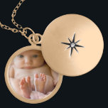 """Beautiful Charm Necklace with Picture Inside<br><div class=""""desc"""">Add your baby&#39;s (or whoever you want) photo in this pretty gold toned necklace in the customize area.</div>"""