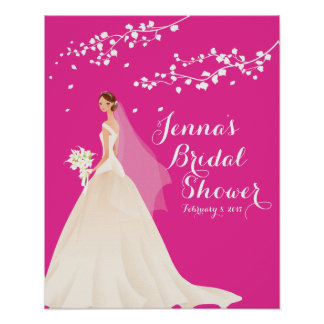 Beautiful Chci Pink Bride Bridal Shower Poster