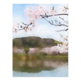 Beautiful cherry blossom and pond postcard
