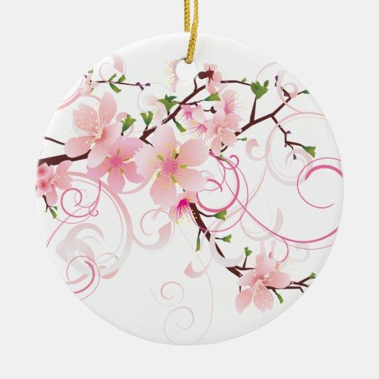 Beautiful Cherry Blossoms Ceramic Ornament