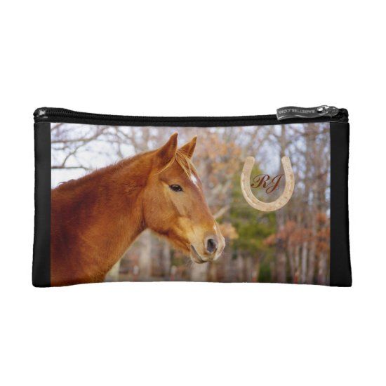Beautiful Chestnut Horse Monogram Cosmetic Bag