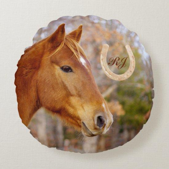 Beautiful Chestnut Horse Monogram Round Pillow