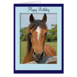 Beautiful Chestnut Horse photo birthday card