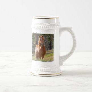 Beautiful chestnut horse photo portrait, gift beer stein